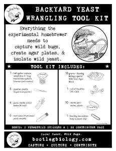 Backyard Yeast Wrangling Tool Kit Info Sheet